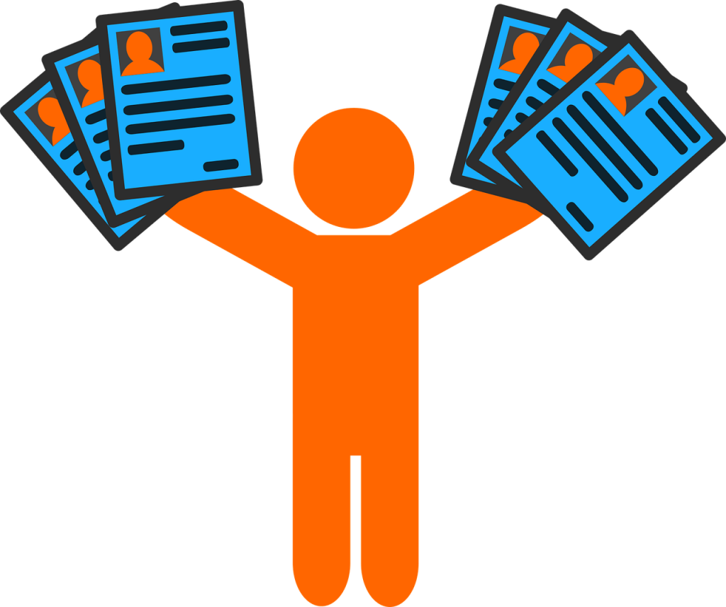 Cartoon person holding resumes