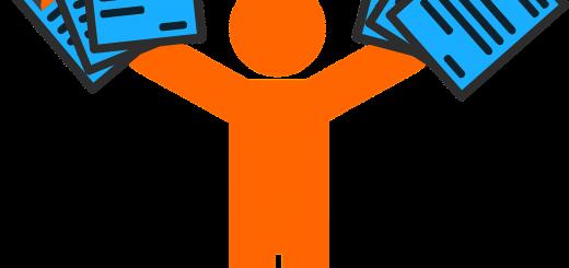 Cartoon person holding resume